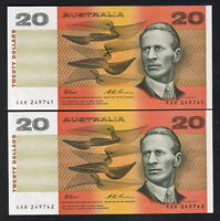 Australia R-415. (1993) 20 Dollars - Fraser/Evans.. UNC - CONSECUTIVE Pair..