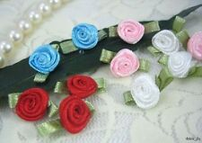 120 Mixed Cute Satin Ribbon Rose w/ Leaf Appliques/Trim for Dolls/Baby