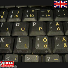 Swedish Finnish Transparent Keyboard Stickers With Yellow Letters for Laptop PC