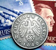 XX-RARE 1940-A WW2 NAZI German 5 Reichspfennig Coin/Swastika & Hitler Stamp LOT