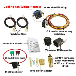 12V Car Electric Dual Cooling Fan Wiring Harness Thermostat Sensor 40A Relay Kit