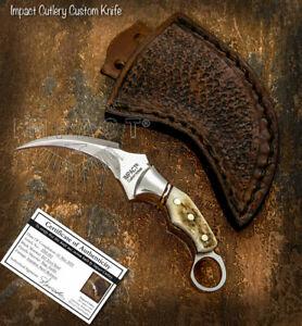 IMPACT CUTLERY RARE CUSTOM MINIATURE KARAMB SKINNING KNIFE FULL TANG STAG ANTLER