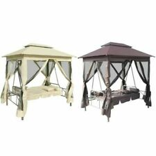Chaises, balançoires et bancs de jardin et terrasse blancs en tissu
