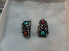Women's STC Native American TRADING Navajo Sterling,Turquoise & Coral Watch Tips