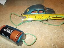 Rare tin 1950's Volkswagen Beetle Bug Battery Operated Car Wired Remote paper 5