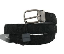 NEW $340 DOLCE & GABBANA Belt Black Cotton Lace Leather Gray Buckle 105cm /42in