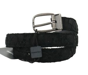 NEW DOLCE & GABBANA Belt Black Cotton Lace Leather Gray Buckle 85cm /3