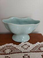 Vintage Mccoy Brush Pottery 820 Pedestal Vase Planter Baby Blue Speckled