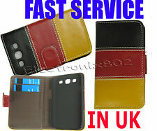 Leather Wallet Case Card Pouch For Samsung Galaxy S3 III i9300 Black/Red/yellow