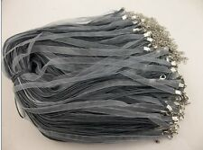 wholesale 50pcsgray Organza Ribbon Necklace Silk Cord Clasp charms pendant 420mm
