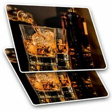 2 x Rectangle Stickers 7.5 cm - Whiskey Glasses Drink Whisky Alcohol Cool Gift #