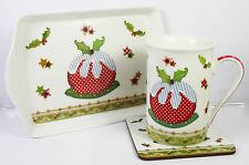 Noël sous tasse mug plateau set Noël Pudding fin chinois mélamine cadeau NEUF