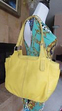 THE SAK Genuine Pebble Leather Yellow Satchel Carryall Hand/Shoulder Bag EUC