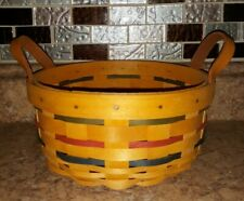 "Longaberger 2001 Button 7"" Round Basket w/ Leather Handles Nwob"