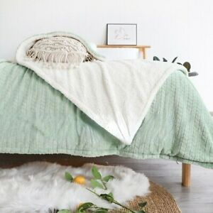 Simple  Flannel Blanket Thick Faux Fur Warm Soft Plush Throw Blanket  Bed Couch