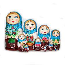Nesting dolls Nastya with bouquet - 10 pcs matryoshka flowers signed handmade