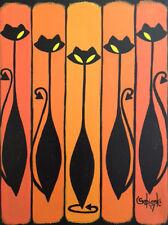 "Clee Sobieski Mid Century Modern Painting Midmod Halloween Black Cat 9x12"""