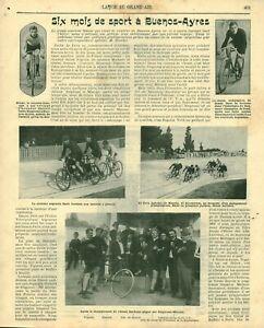 Publicité ancienne document sport à Buenos-Ayres tandem 1900 issue de magazine