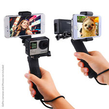 Stabilizing Hand Grip for GoPro Hero 5, 4, 3+, 3 with Dual Mount, Tripod Adapter