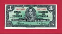 ONE 1 DOLLAR 1937 CANADA UNC- ERROR (Misaligned Obverse) P-58d, Gordon & Towers