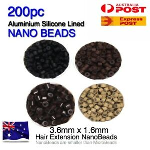 Hair Extension Bead Rings NANO 200pc Silicone Lined Aluminium 3.6mm x1.6mm Micro