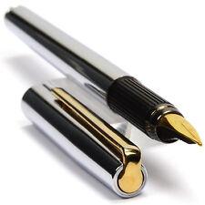 OMAS Rinascimento Chrome Plated Plain Finish Vintage Fountain Pen 1975 NICE