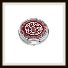 LARGE CELTIC KNOT RED ENAMEL 3 SECTION BOXED PILLBOX ~ FROM SEA GEMS