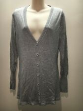 Portmans Light Grey Marle Longline Button Front Soft Cardigan Size L Fit 12 14