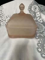 Tiara Glass Vtg Pink Satin Frosted Honey Bee Hive Candy Dish Covered Box *311