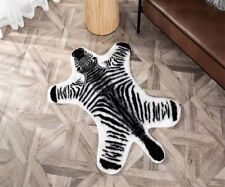 Zebra Cow Print Rug Skin Hide Mat Leather Faux Animal Home Carpet Skin Area Rugs