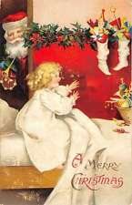 Merry Christmas Santa Claus Girl In Bed Clapsaddle Antique Postcard K60202