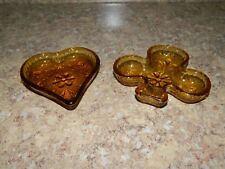 2 Vintage Indiana /Tiara Amber Glass Sandwich Pattern Nut Dishes