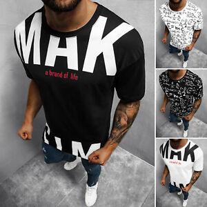 T-Shirt Tee Rundhals Kurzarm Shirt Motiv Aufdruck Fitness Herren OZONEE 16702