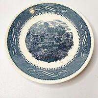 Currier & Ives Ironstone Anchor Hocking Blue Cottage Carriage Dinner Plate Vtg