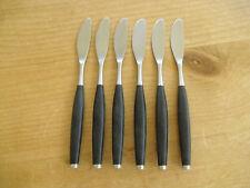 """Set of 6 Retro Mid-Century Wallin Safir(black) Dessert Knives - >7 1/2""""(>19cms)"""