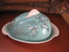 #A22 Antique ROYAL WINTON GRIMWADES butter dish aqua blue w/roses