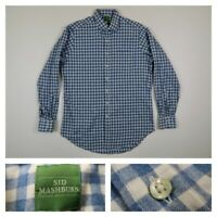 Sid Mashburn Mens Large Blue Checks Flannel Shirt Button Front Sport Long Sleeve