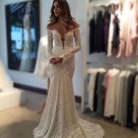 Beach Bohemia Mermaid Bridal Gown Wedding Dress Lace Long Sleeves V Neck Custom