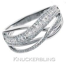 Pave Diamond Multi-Band Shaped Wedding Ring 0.65ct F VS in 18ct White Gold