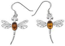 Oval Amber Sterling Silver Fine Earrings