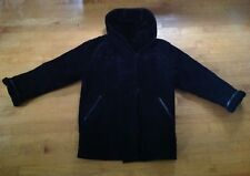 GALLERY Women's Black Genuine Leather Shearling Duffle Coat With Hood Size Small