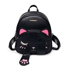Women Black Small Backpack Cute Cat Shoulder Bags Tote Messenger Satchel Cross