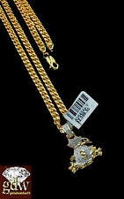 "Real 10k Yellow Gold & Diamond Money Bag Dollar Charm with 26"" Miami Cuban Chain"