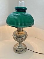 Vtg C.H. McKenney Mid Century Oil Lamp with Electric Fixture & Green Glass Shade