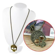Europe Style Big Skull Retro Carving Flower Bronze Sweater Chain Necklace