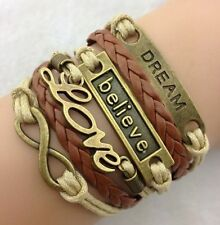Fashion Infinity Love Anchor Believe Dream Bronze Leather Charm Bracelet Jewelry