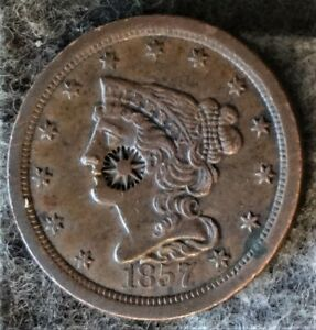 US 1857 BRAIDED HAIR HALF CENT - Early Copper Half Penny(1840-57) - Counterstamp