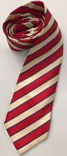 Chloe Pure Silk Clasic Mens Neck Tie Red Cream Blue Stripe Career Business Smart