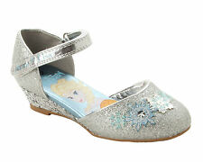GIRLS SILVER GLITTER FROZEN DRESS UP PARTY WEDDING LOW WEDGE SANDALS SHOES SIZE