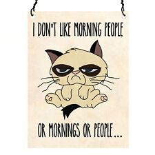 I Don't Like Mornings Grumpy Cat Retro Vintage Wall Metal Sign Plaque 7.5x10cm